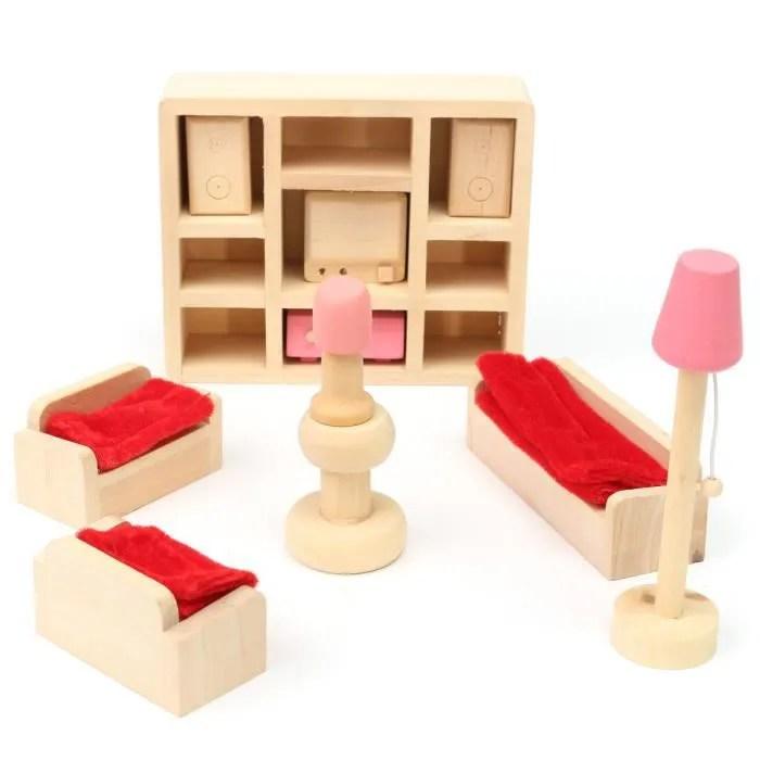 meuble poupee mobilier maison diette bois jouet enfant barbie salon