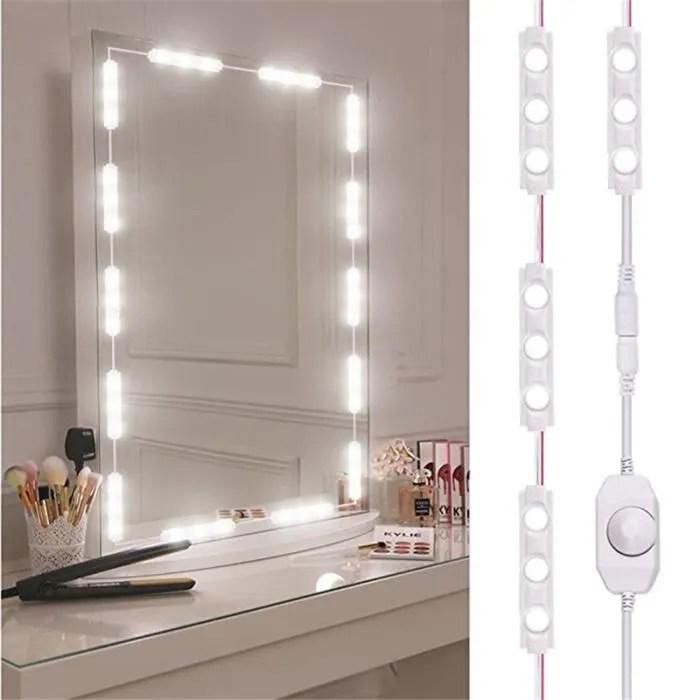 lumiere led miroir de maquillage lumineux pour dresser maquillage coiffeuse illuminated blanc