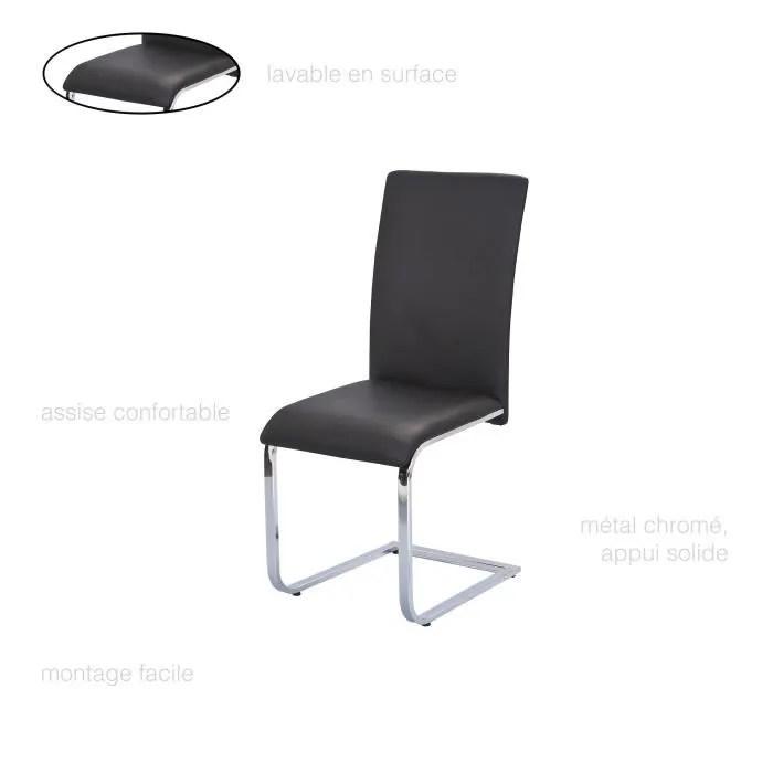 chaise salle a manger noire simili cuir chaise design dossier haut chaise contemporaine chaise chrome salon chaise pas cher