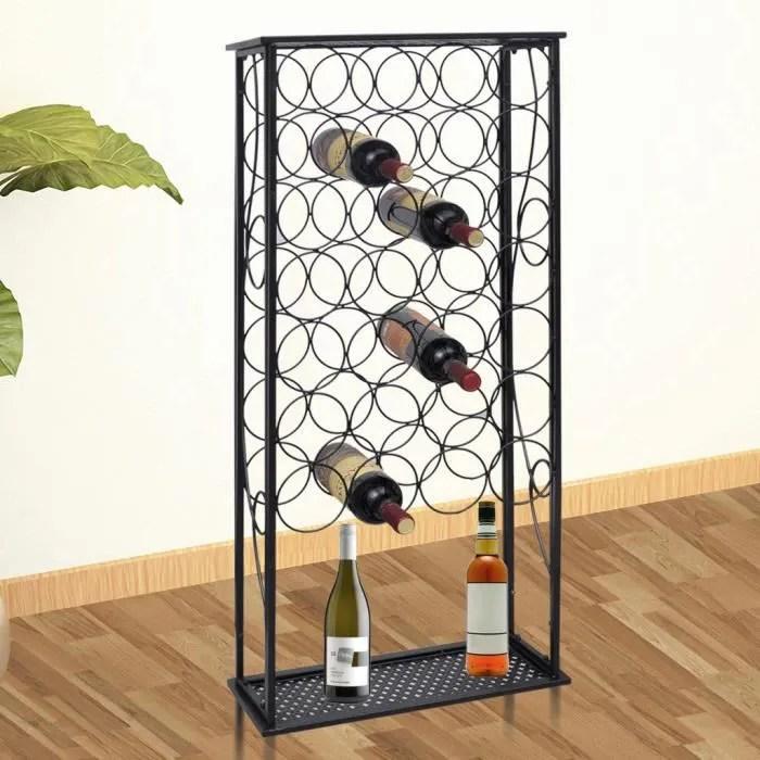 porte bouteille etagere casier a 28 bouteilles de vin en fer forge 47 5 x 21 x 100 cm