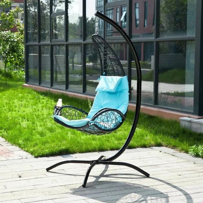 chaise longue fauteuil suspendu bleu balancelle de jardin et pat