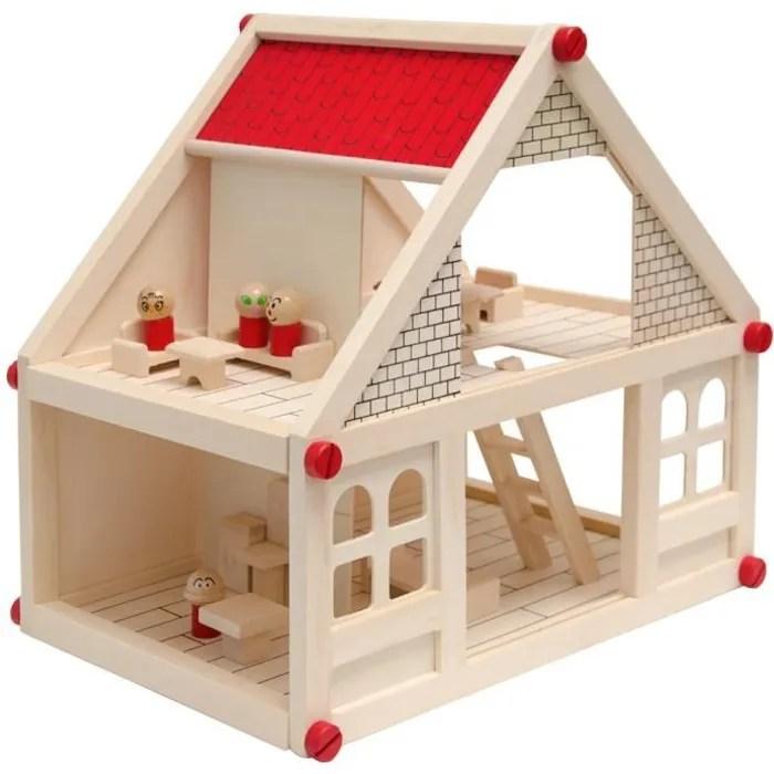 maison des poupees 40x29x38cm mobilier 4 personnages maison miniature 2 etages en bois naturel facile a assembler jou