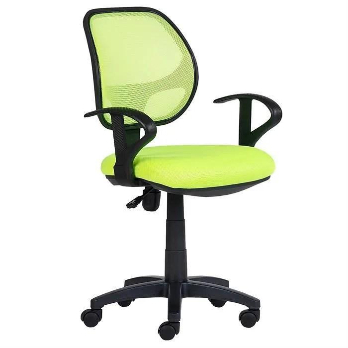 chaise de bureau pour enfant cool fauteuil pivotant et ergonomique avec accoudoirs siege a roulettes et hauteur reglable mesh vert