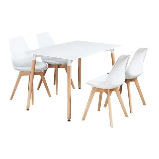 ensemble salle a manger moderne lorenzo table blanche 4 chaises blanches design scandinave achat vente table a manger complete ensemble de salle a