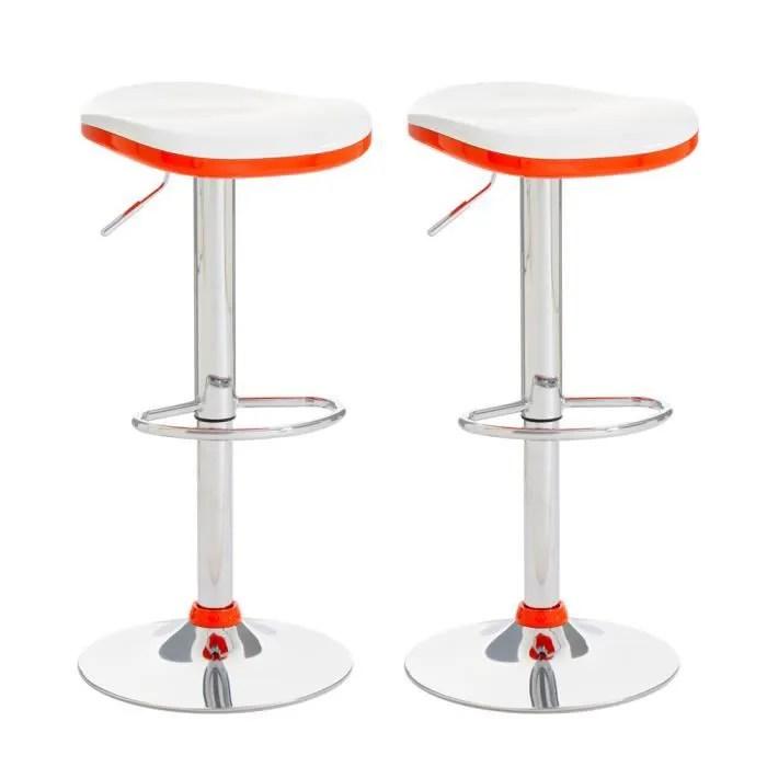 Excellent Tabouret De Bar Bicolore Blanc Et Orange With C