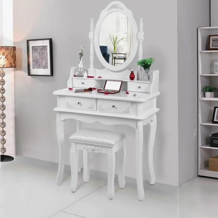 songmics coiffeuse blanche a 4 tiroirs avec 2 separateurs un miroir et un tabouret