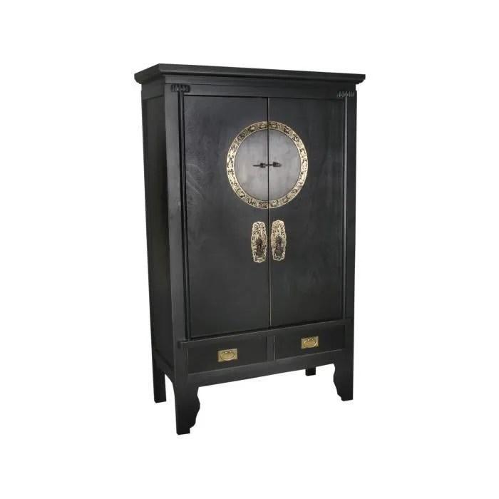 armoire de mariage chinoise 105x175 cm a 2 portes et 2 tiroirs en bois de peuplier coloris noir p 36044 co noir