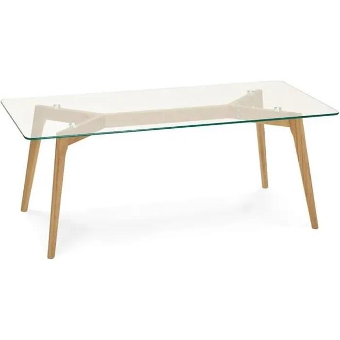 table basse rectangulaire plateau verre design scandinave