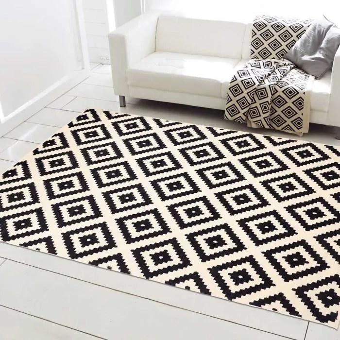 orma tapis de salon moderne design scandinave 160 x 225 cm noir et blanc