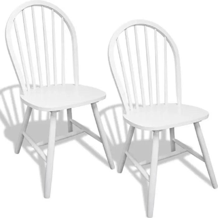 chaise 2pcs chaises blanches en bois avec dossier arrondi