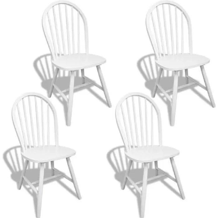 chaise 4pcs chaises blanches en bois avec dossier arrondi
