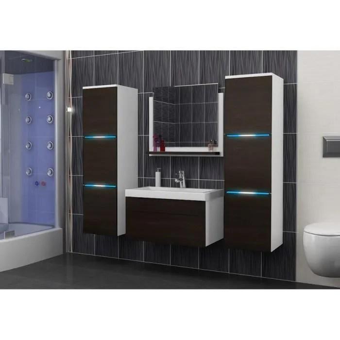 salle de bain complete luna blanc wenge led vasque en ceramique miroir meuble design suspendu