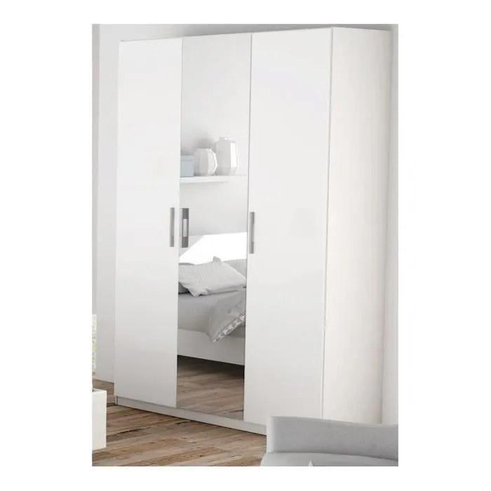 armoire blanche 3 portes miroir jaipur
