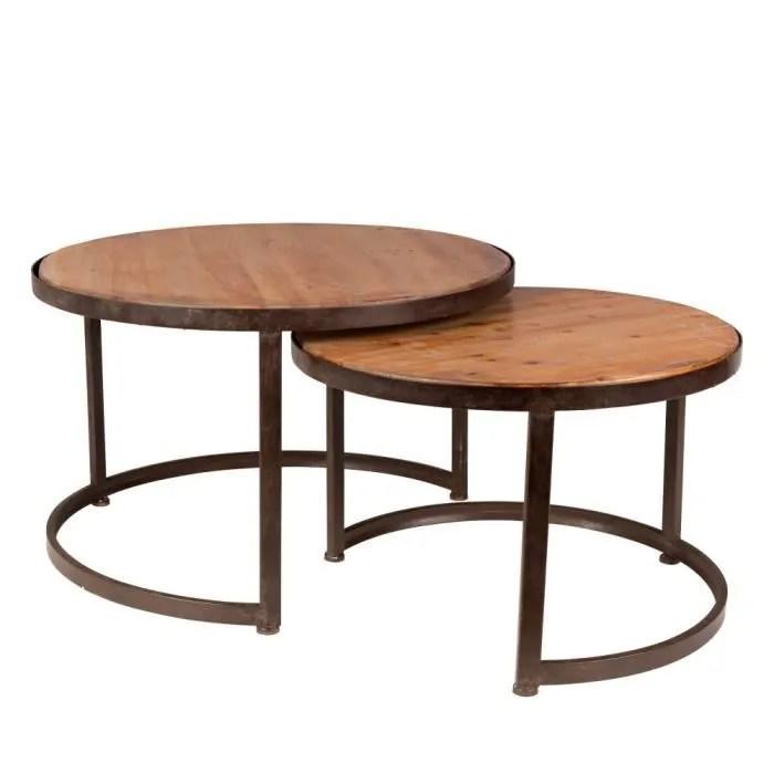table basse lot de 2 tables basses vintage jack couleur bo