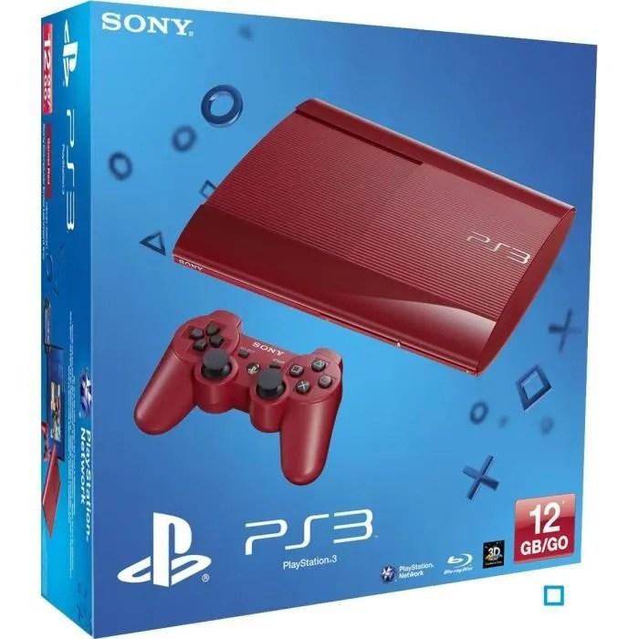 PS3 12 Go Rouge Ultra Slim Manette DualShock 3 Achat
