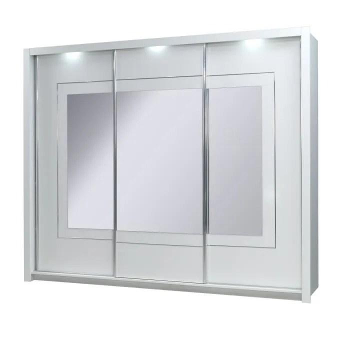 armoire 3 portes coulissantes panarea miroirs led