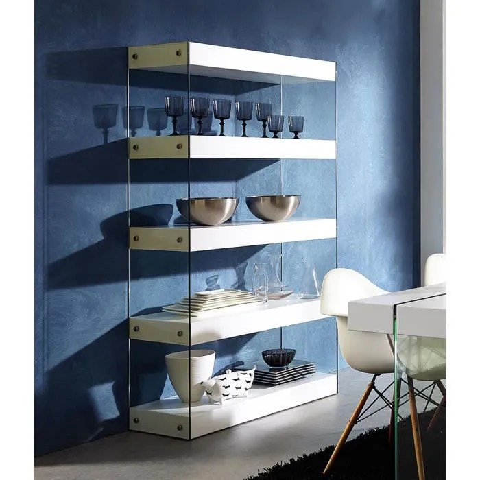 meuble bibliotheque laque blanc mat design goud l 100 x p 40 x h 180 cm