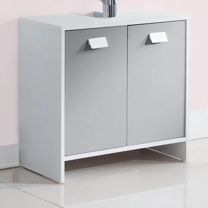 top meuble sous vasque l 60 cm blanc et gris mat