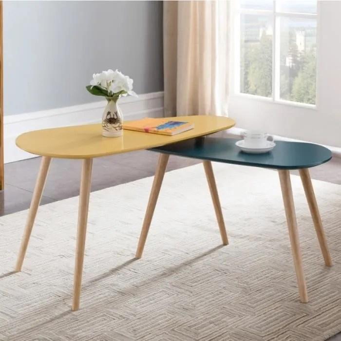 ensemble de tables basses glada 2 tables noir pieds en bois massif style scandi style contemporain