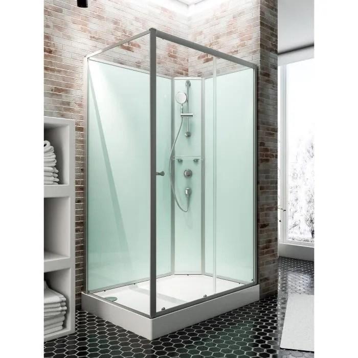 cabine de douche integrale 120x80 cm cabine de douche complete rectangulaire ibiza porte coulissante droite schulte
