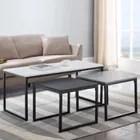 ensemble de tables basses monochrome 3 tables couleurs blanche noire grise style industriel style scandi