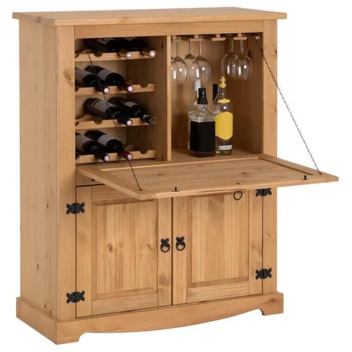 meuble bar a vin tequila armoire comptoir avec range bouteilles et range verres bahut de style mexicain en pin massif cire