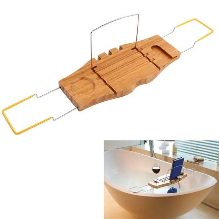 porte accessoire pont de baignoire plateau de bain en bois de bambo