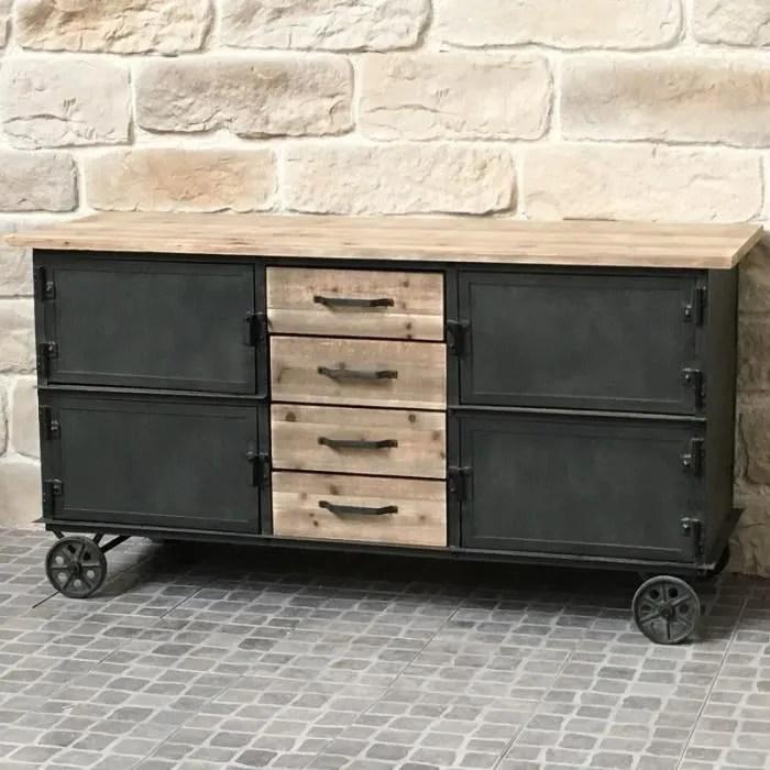 bahut buffet meuble a roulettes industriel campagne fer et bois