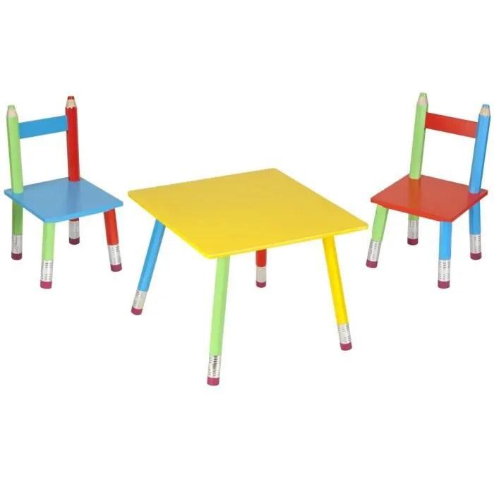 Salon Pour Enfant Crayons 1 Table Et 2 Chaises Achat