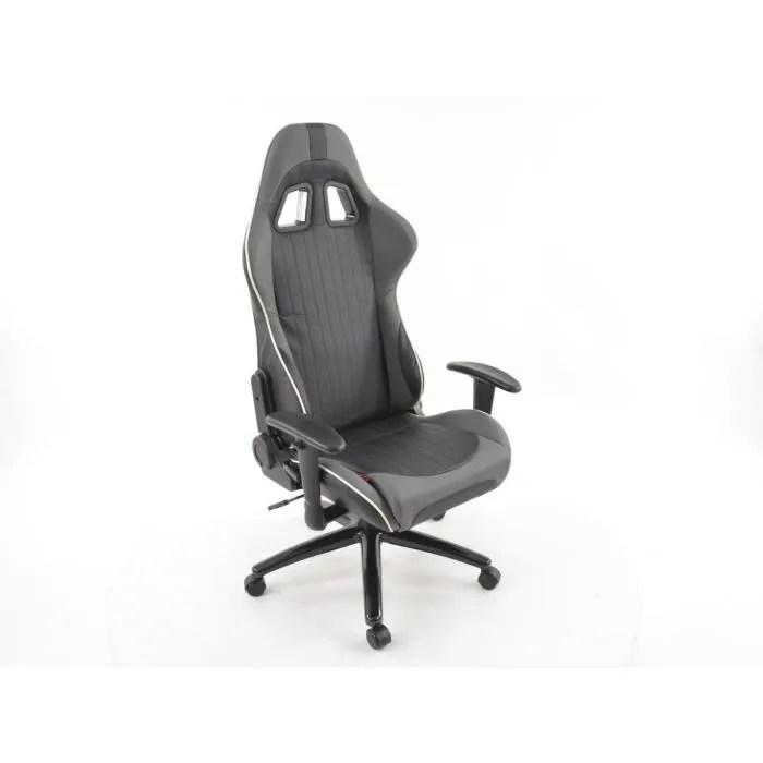 chaise de bureau sport avec accoudoir pu gris blanc