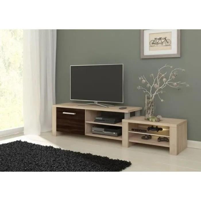 meuble tv salma chene clair chene fonce