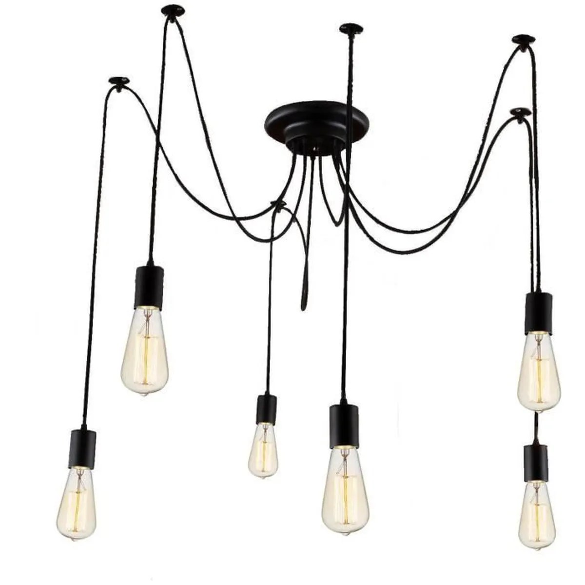 6 E27 Retro Lampe Suspension Diy Lustre Industriel Grenier