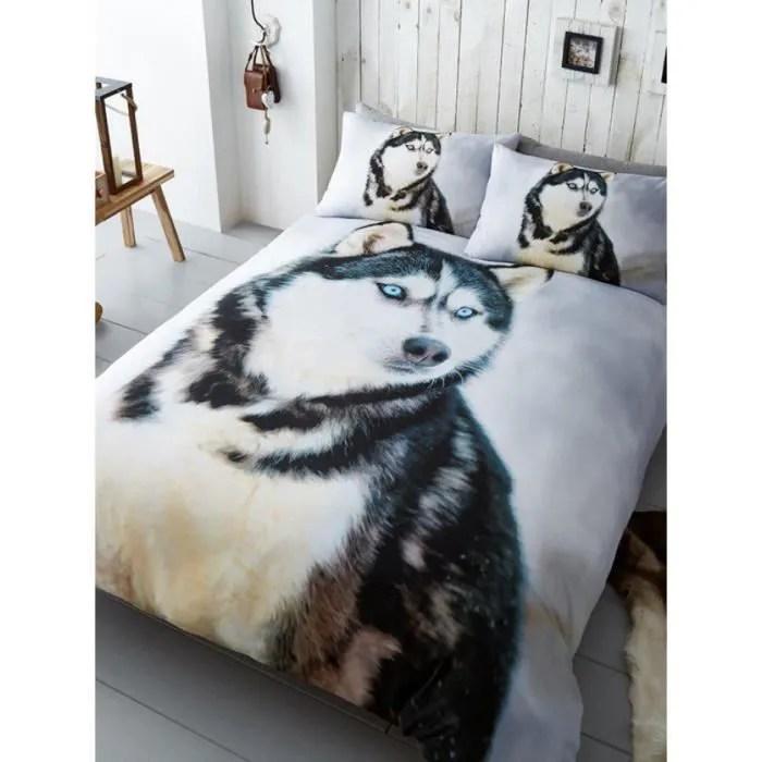 housse de couette double chien husky et ensemble taie d oreiller