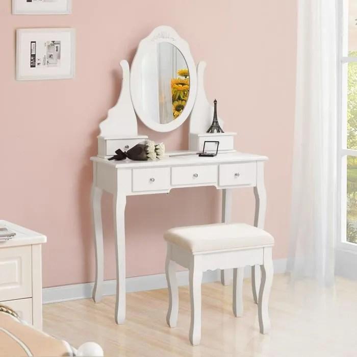 songmics coiffeuse table de maquillage 80 x 40 x 140 cm avec miroir pivotant 5 tiroirs et 1 tabouret parois rdt09w