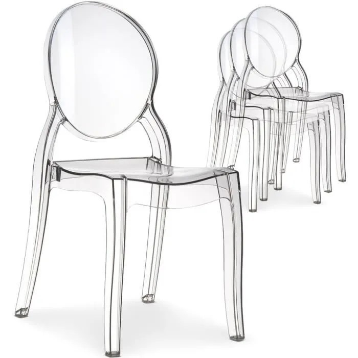 Lot De 4 Chaises Diva Plexi Transparent Achat Vente