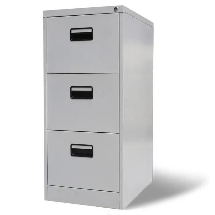 armoire de bureau en metal a 3 tiroirs gris meuble rangement de documents 102 5 x 45 5 x 62 cm