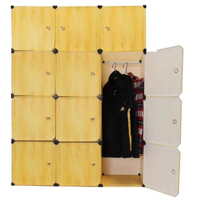 neufu armoire 12 porte avec etageres et penderie bricolage cabinet storage organizer quatre jaune