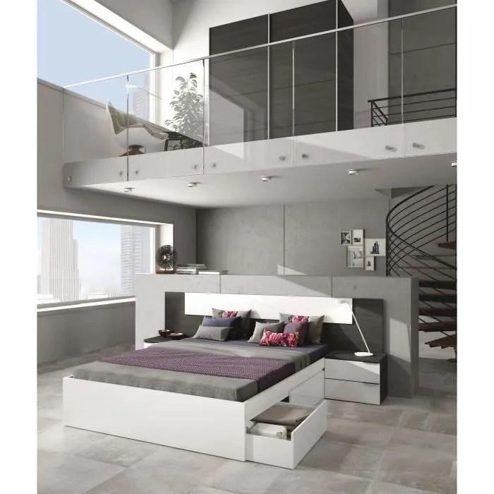 adhara tete de lit 2 chevets style contemporain blanc brillant et gris cendre l 247 cm