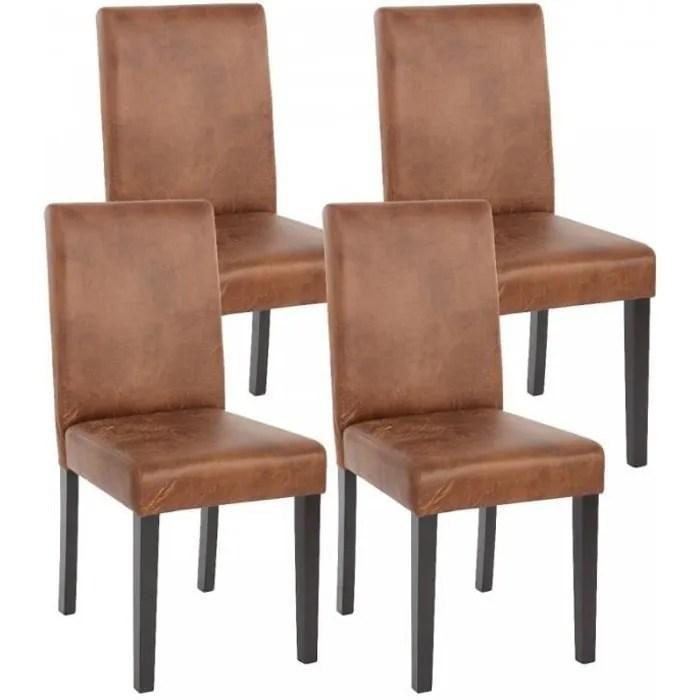 lot de 4 chaises de salle a manger simili cuir marron vieilli pieds fonces cds04150