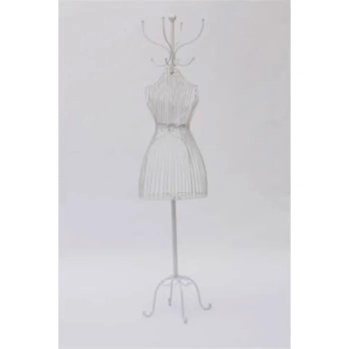 mannequin de couture et d exposition en fer blanc avec porte manteaux et espace interne de rangement