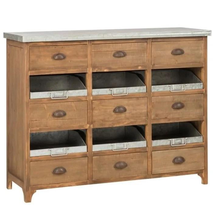 meuble d entree bois metal 15 tiroirs irona l 115 x l 41 x h 90