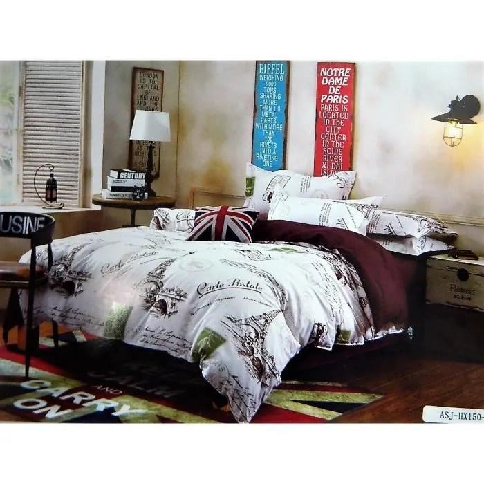 housse de couette et taies parure ensemble drap literie motif paris pour lit