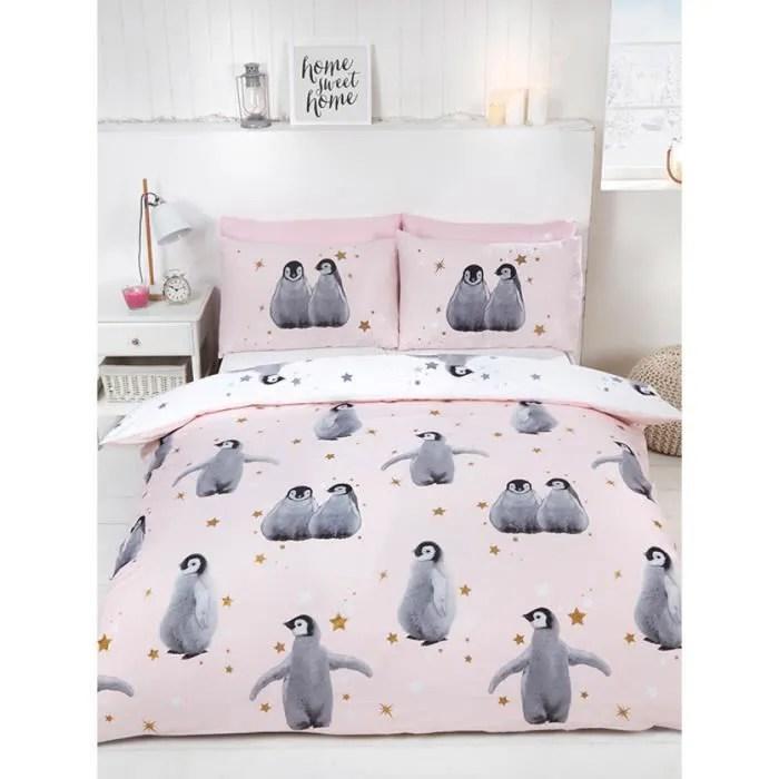 pingouins etoiles ensemble de housse de couette double rose