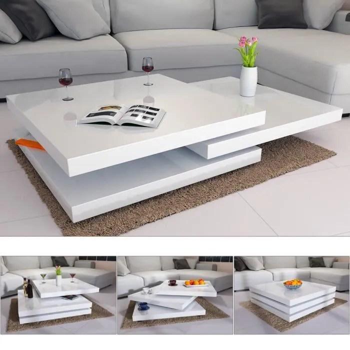 table basse moderne laquee blanche salon design