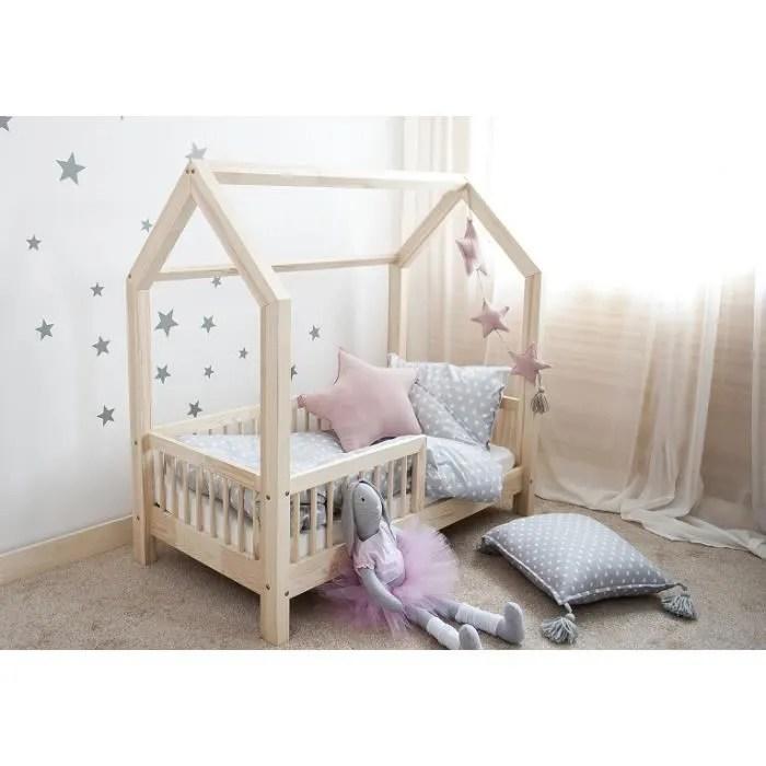 lit cabane bois massif avec barrieres 90x190cm