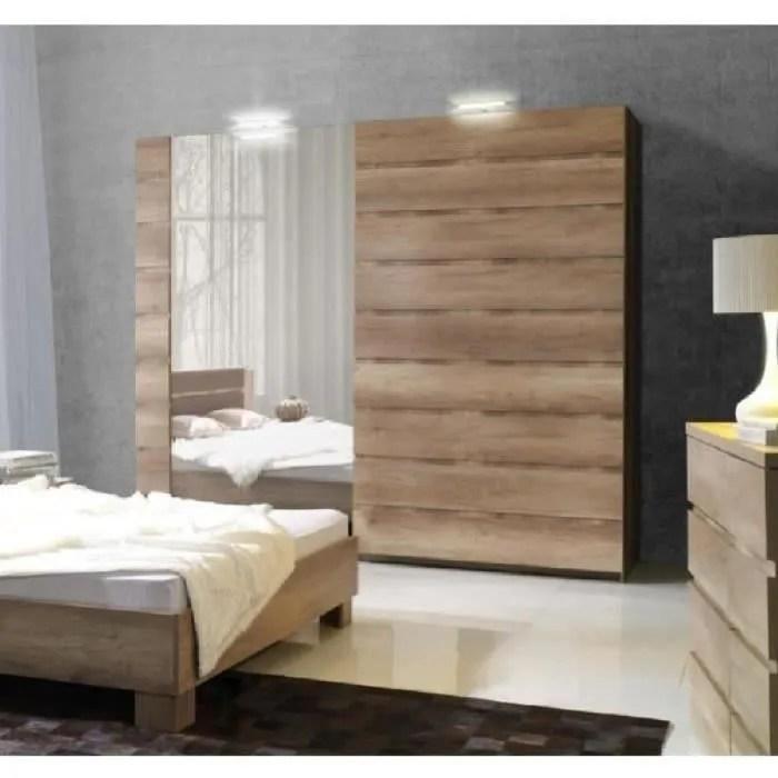 price factory armoire miro 2 portes coulissantes avec miroirs 200 cm garde robe pour chambre a coucher dressing penderie