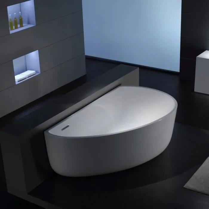 Baignoire Lot Asymtrique 170x100 Cmacrylique Blanc Arc