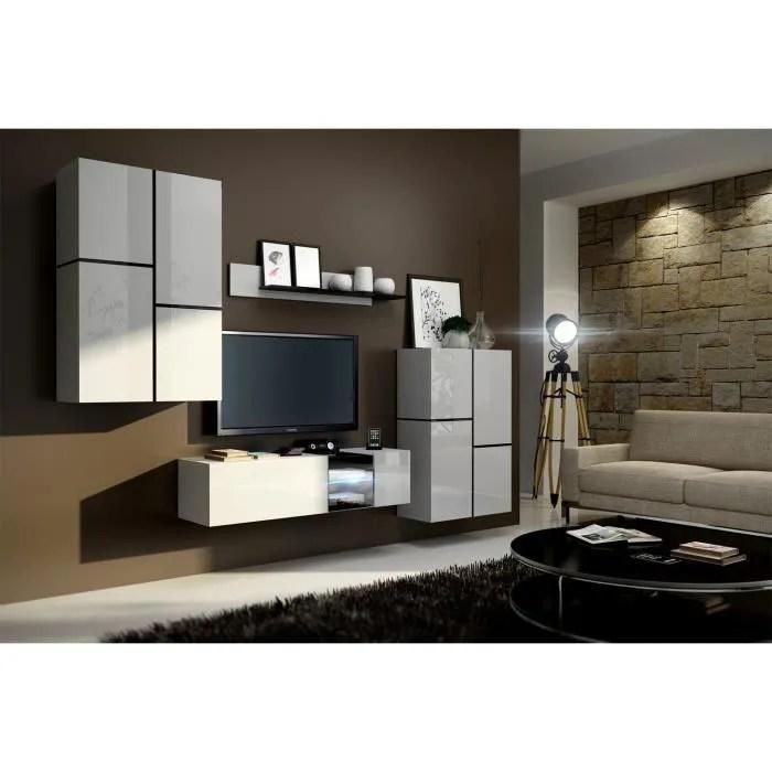 meuble de salon meuble tv complet suspendu inbox blanc led meuble design et tendance avec facades brillantes high gloss