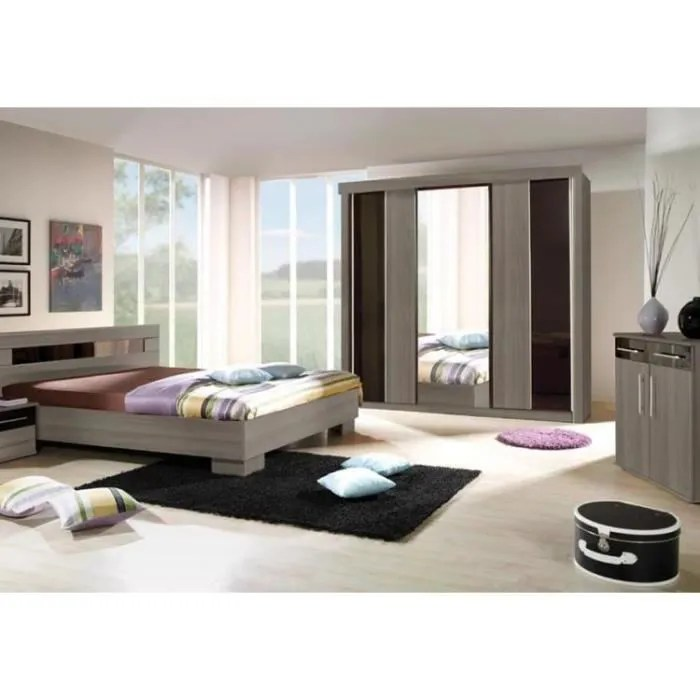 chambre a coucher complete dublin adulte design lit 160x200 cm armoire commode 2 chevets