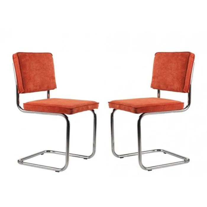 Chaises Design Ridge Rib Orange Lot De Deux Achat